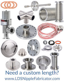 High & UHV Flanges & Fittings, Vacuum Components including KF, NW, Conflat & ISO Non-Reducing Tees & Crosses